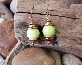 Olive Jade and Copper Dangle Pierced Earrings