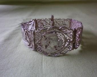 Vintage Sterling Silver Filigree Egyptian Panel Bracelet