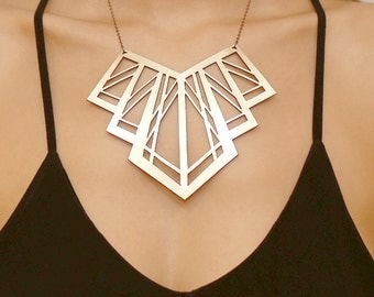 Art Deco Gold necklace - Laser cut leather - statement necklace - Geometric necklace - Fashion jewellery - Costume jewellery - Handmade
