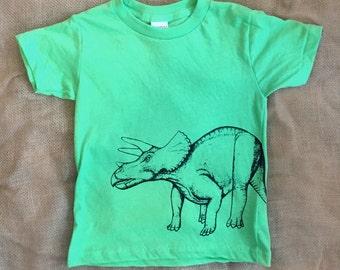 Kids Triceratops Dinosaur T Shirt - Toddler Dinosaur Shirt - Kids Dinosaur Shirt - Cute Toddler Shirt - Cute Dinosaur - Neon Green - Dino