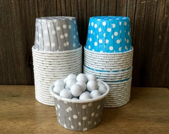 Silver and Blue Paper Snack Cups - Set of 48 - Polka Dot Candy Cup - Birthday Party - Mini Ice Cream Cup - Paper Nut Cup - Same Day Shipping