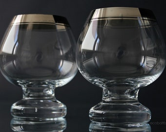 Cognac Glasses with Silver Rim Set of 2 Brandy Glasses Silver Rimmed Platinum Rim 1960s Mid Century Modern Barware Snifter Balloon
