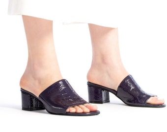Blue Heels, Leather Mules, Low Heel Sandals, Summer Shoes, Heeled Strap Mules, Slip-on Shoes, Leather Slides, 20% SALE