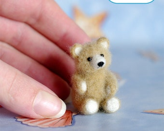 OOAK Needle felted teddy bear miniature cream beige original handmade soft sculpture / Made To Order / by SaniAmani