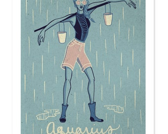 AQUARIUS SALE! Astrological Sign Drawing, Zodiac Print, Illustrated Poster, Winter Birthday, Wall Art, Aquarius Art, Woman Design