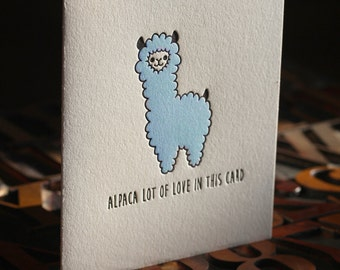 Alpaca Lot of Love Letterpress Folded Card
