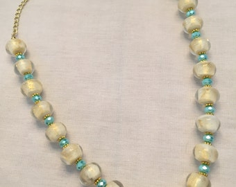 Foiled White Glass Bead Necklace
