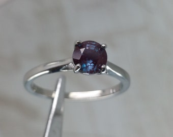 natural 1ct alexandrite solitaire ring in titanium or white gold engagement ring wedding ring - Alexandrite Wedding Ring