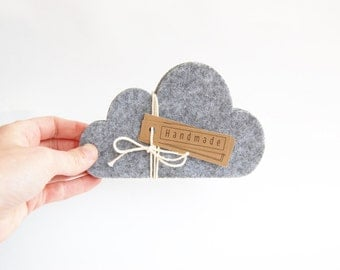 Cloud coasters, felt coasters, drink coasters, grey, grey felt coasters, mother's day gift, housewarming gift, laser cut, studio maas