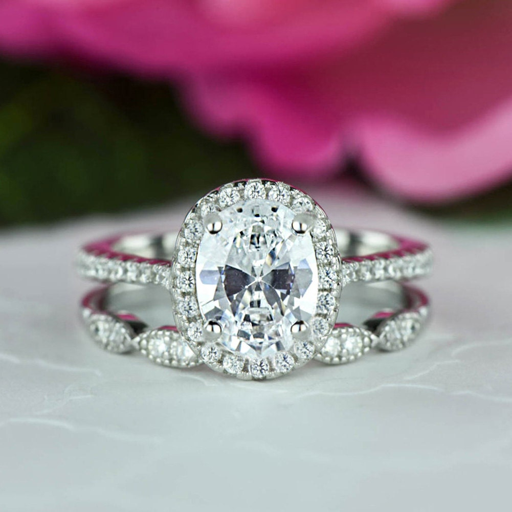 1 5 Ctw Oval Halo Wedding Set Vintage Style Bridal Rings Man