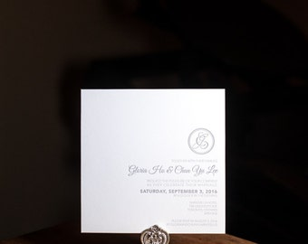 Letterpress Wedding Invitation, Square Letterpress RSVP card, Letterpress Wedding, Letterpress Menu, wishing well