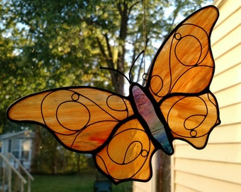 "Handmade Orange Stained Glass Butterfly Suncatcher with wire ""Curlies"""