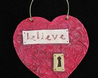 Word Heart Believe Ornament
