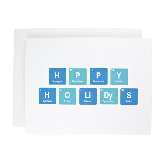 Happy Holidays greeting card, periodic table, geeky, teal, chemistry, Christmas, holiday, Hanukkah
