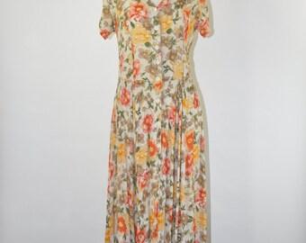 90s floral maxi dress / 1990s back cutout dress / rayon crepe long dress