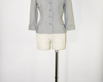 50s light gray jacket / 1950s striped fitted blazer / vintage tailored jacket