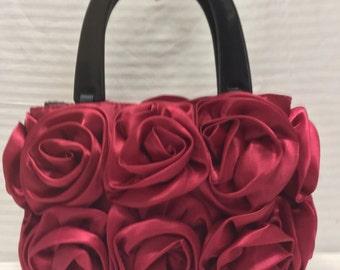 Red Satin Rose Purse, Bag, Handbag