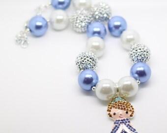 Cinderella Necklace, Cinderella Bubblegum Necklace, Cinderella Birthday Necklace, Birthday necklace, princess bubblegum necklace