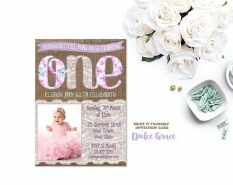 lavender photo invitation, first birthday invitation,1st birthday invitation, girl birthday invitation, purple teal invite, DIY printable