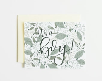 Single Card | Botanical It's A Boy Card, Birth Announcement Hand Lettered Baby Greeting Card