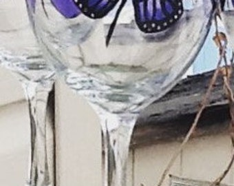 Purple butterfly whimsical handpainted wineglass...13.95 each glass....single glass listing....a touch of elegance...bridal gift