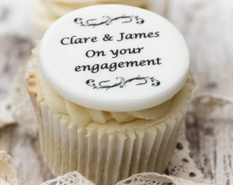 Engagement Cupcake Toppers - personalised edible sugar cupcake decorations (pack of 12)