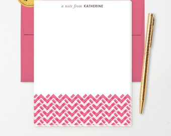 Personalized Note Pad // Woven Chevron with Name // Lined or Unlined