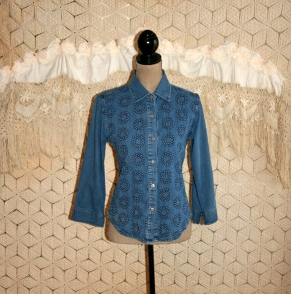 Boho denim shirt womens xs small casual tops button up for How much to get a shirt tailored