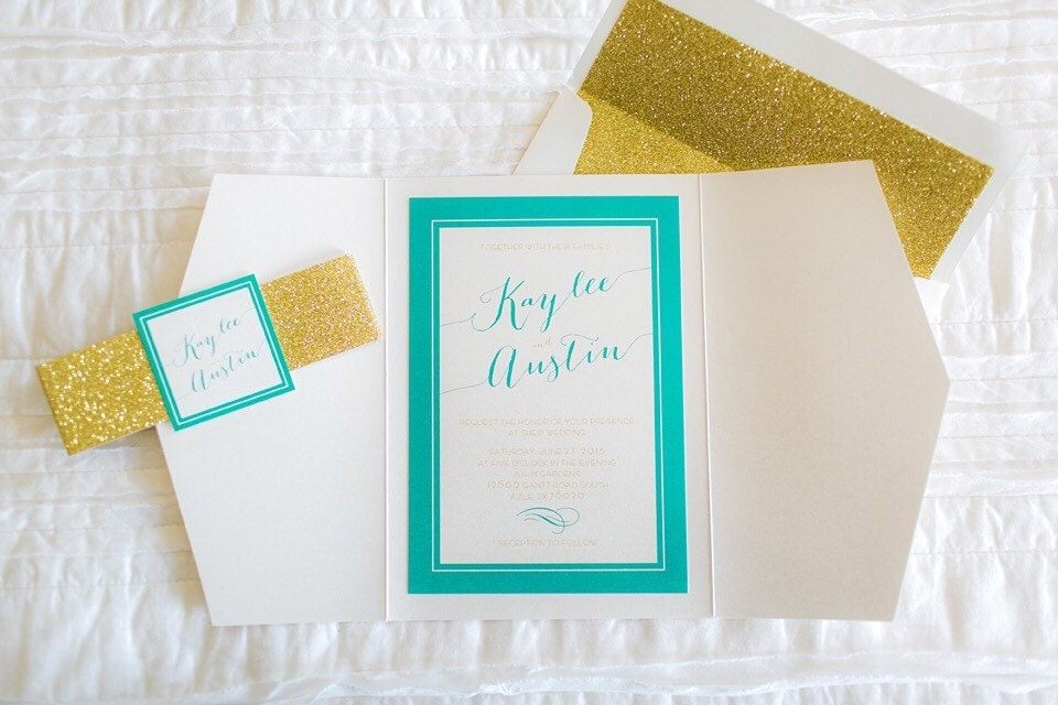 5x7 Turquoise Gate Fold Wedding Invitation With Gold Glitter Enclosure Band And Monogram RSVP Included Different Colors Available