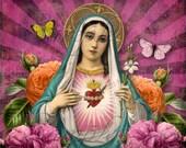 Sacred Heart 3 - Original Digital Art -  large image - Printable, instant download