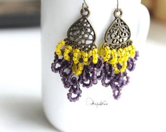Chandelier earrings Beaded earrings Gypsy earrings Purple yellow earring Long earrings Openwork earrings Seed bead earrings Clusters earring