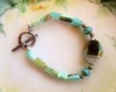 Peruvian blue Opal bracelet, Picasso bracelet, Jasper bracelet, turquoise bracelet, boho chic bracelet, southwestern bracelet