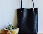 Classic Black Leather Tote Bag - Simple Shopping Tote - Leather Shoulder Day Bag