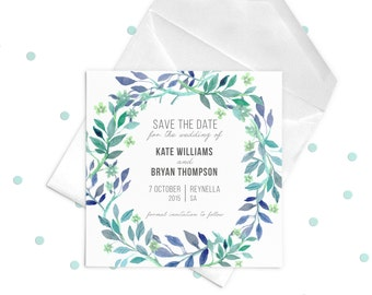 Green Purple Wedding Save the Date. Watercolor Floral Elements. Spring Wedding Invitation. Square Invitation Card. 14 x 14 cm.