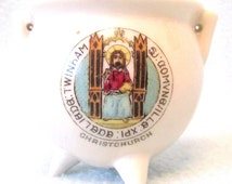 Collectible Crested China Small Cauldron, Christchurch Crest, Display Piece, Old Crested Item, 1910's, Coronet Ware, Unusual Crested China