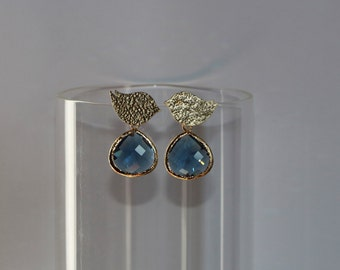 Free Shipping. Sparrow Bird Polished Gold earrings with Dark Blue crystal faceted pendant. Hand made
