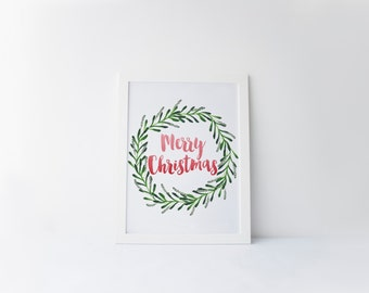 merry christmas printable · christmas wreath · watercolor wreathart print · christmas decor · holiday print · red and green · seasonal art