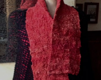 Handknit scarf  - 100% wool, handspun, hand-dyed