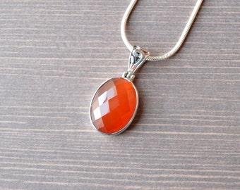 Oval Faceted Carnelian Pendant // Carnelian Jewelry // Sterling Silver // Village Silversmith