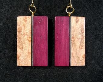 Purpleheart and Birdseye Maple Laminated Earrings