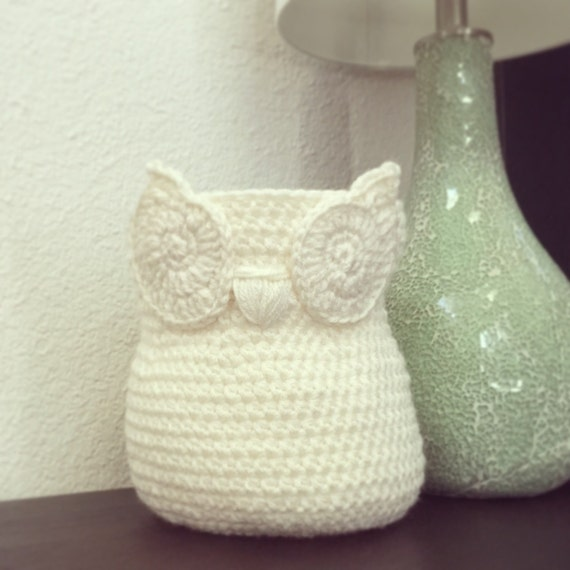 Owl Basket, Home Decor Owl Basket, Ivory Cream crochet owl basket, Owl ...
