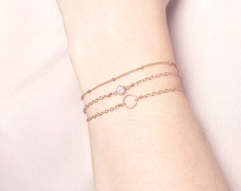 Rose Gold stacking bracelet set - delicate bracelets - layering bracelet set - dainty bracelets - set of 3