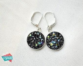 Swarovski Crystal Black Earrings,Black Crystal Rock Earrings, Swarovski Crystal earrings, Crystal rock earrings, Black rock earrings