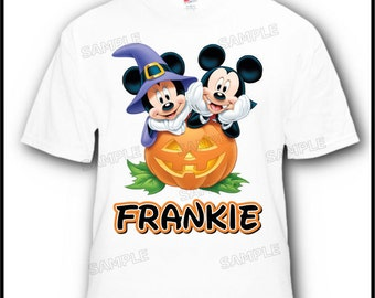 Personalized Mickey and Minnie Mouse Halloween Disney Vacation or Birthday T-Shirt