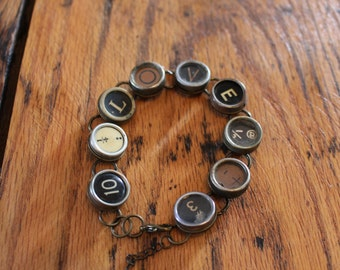 Love Typewriter Key Bracelet,inspiration,steampunk,unique gift,recycled,upcycled,reclaimed,vintage gift,industrial