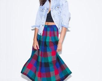 1970's Plaid Midi Skirt// Plaid Midi Skirt//Vintage Plaid Skirt