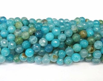 12mm Blue Agate Round Beads, Round Agate Beads, 1 Strand Blue Round Beads, Natural Stone Beads, Faceted Agate Beads, Wholesale Beads