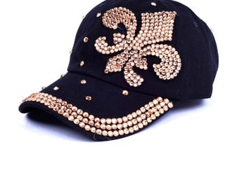 Fleur De Lis New Orlean Saints Rhinestone Black Cap/ Baseball Hat