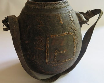 Wooden African Water Carrier// African Gourd// African Container