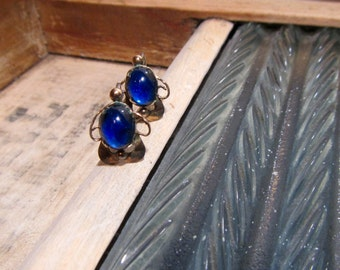 Blue Cabachon Screwback Earrings, Sterling Silver Screwbacks, Rainbow Sterling Silver Goldtoned Earrings